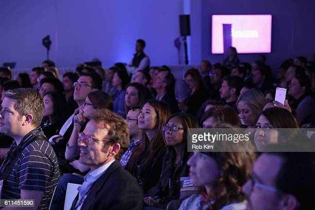 Audience members attend the Telling Stories Across Screens Programmatic TV panel on the ADARA Stage at Times Center Hall during 2016 Advertising Week...