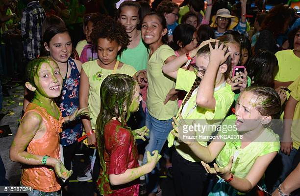 Audience members get slimed during Nickelodeon's 2016 Kids' Choice Awards at The Forum on March 12 2016 in Inglewood California