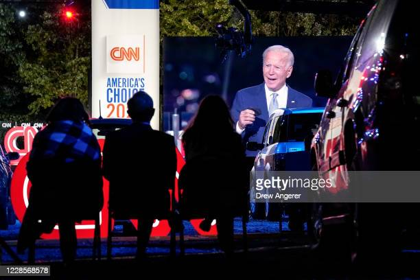 Audience members listen as Democratic presidential nominee and former Vice President Joe Biden participates in a CNN town hall event on September 17,...