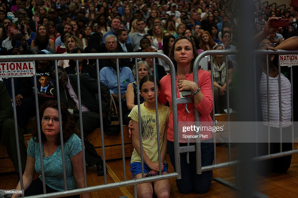 Audience members listen as U.S. President Barack Obama delivers a speech on gun control at the University of Hartford on April 8, 2013 in West Hartford, Connecticut. Nearly four months after the Sandy Hook Elementary School shootings, Connecticut has passed some of the toughest gun control measures in the nation.