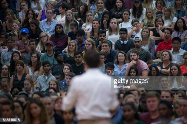 Audience members listen to Justin Trudeau Canada's Prime Minister during a town hall meeting at the University of British Columbia Okanagan campus...