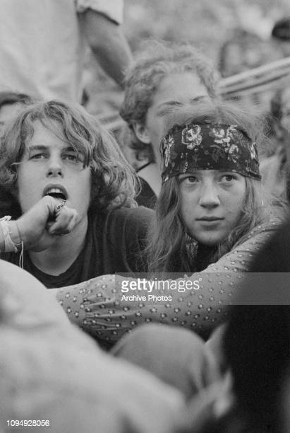 Audience members on the first day of the Woodstock Music Festival Bethel New York 15th August 1969