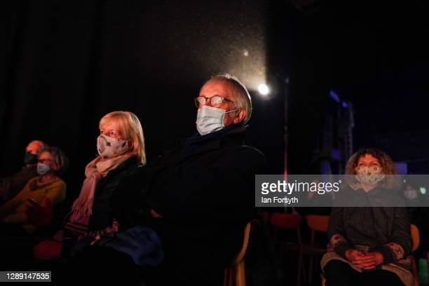 Audience members sit socially distanced as they watch actors from York Theatre Royal perform Jack and the Beanstalk on December 02, 2020 in York,...