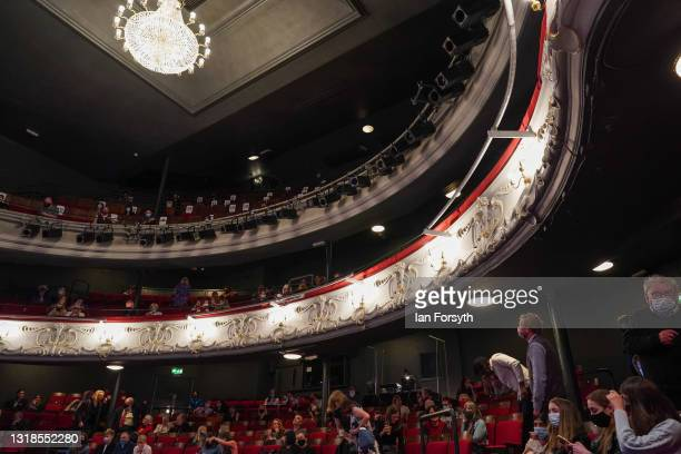 Audience members watch the opening performance of Love Bites at York Theatre Royal on May 17, 2021 in York, England. Following government COVID...