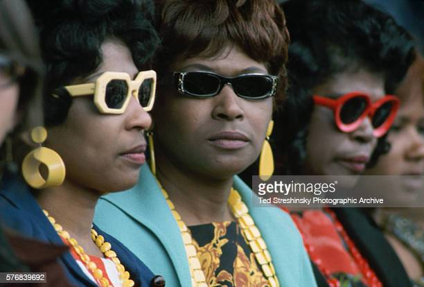 Audience members wear sunglasses during a performance at the International Pop Festival in Monterey California in 1967