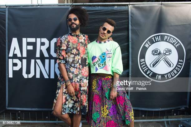 Audience poses for style portrait session during Afropunk 2017 at Grande Halle de La Villette on July 16 2017 in Paris France