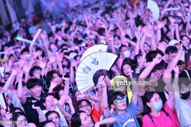 Audience watch a performance during the EV Electronic Music Festival at the Happy Valley Shanghai on July 11, 2020 in Shanghai, China.