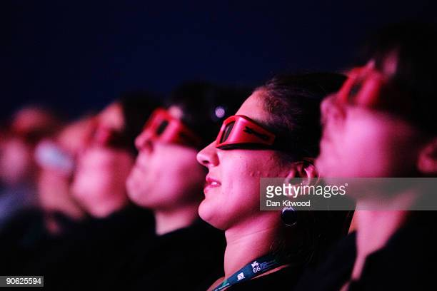 Audience watch through 3D glasses attends the Premio Persol 3D Award The Hole premiere at the Sala Grande during the 66th Venice Film Festival on...