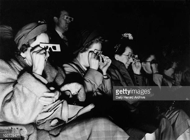 Audience watching a 3D film c 1940s Photograph by Bishop Marshall for the Daily Herald newspaper
