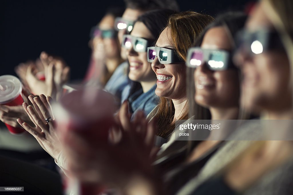 Audience Watching Movie with 3-d glasses. : Stock Photo