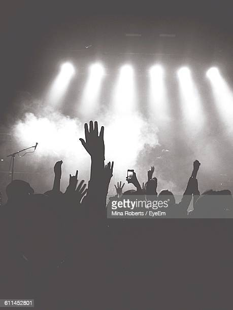 Audience With Arms Raised At Music Concert