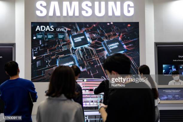 Audiences visit Samsung booth during SEDEX 2020 at Coex on October 27, 2020 in Seoul, South Korea.