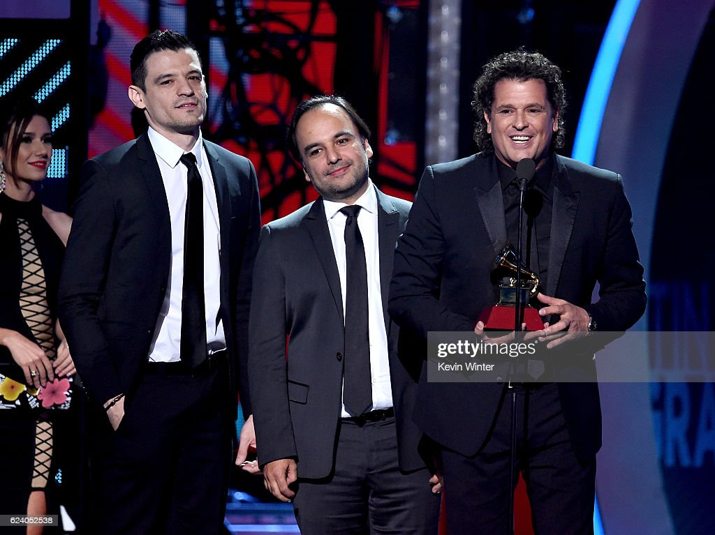 Audio engineer Luis Barrera Jr., producer Andres Castro and singer/songwriter Carlos Vives accept Song of the Year for 'La Bicicleta' onstage during The 17th Annual Latin Grammy Awards at T-Mobile Arena on November 17, 2016 in Las Vegas, Nevada.