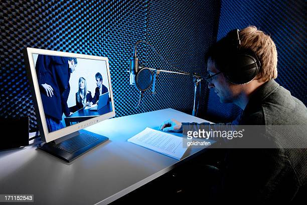 audio recording studio, film/tv-production. voice over - post-production stock pictures, royalty-free photos & images