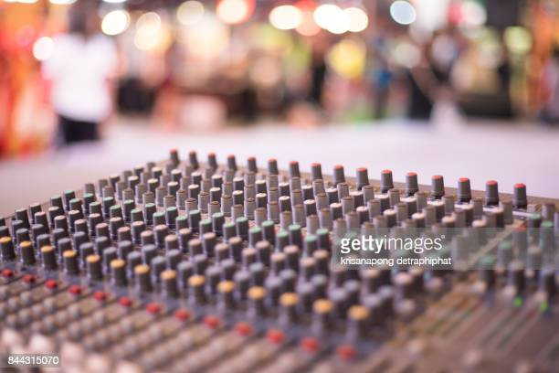 Audio sound mixer&amplifier equipment, sound acoustic musical mixing&engineering concept background, selective focus