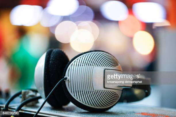 Audio sound mixer&lifier equipment, sound acoustic musical mixing&engineering concept background,Bokeh,headphone