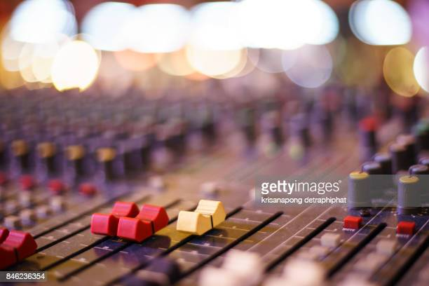 audio sound mixer&lifier equipment, sound acoustic musical mixing&engineering concept background. - toned image stock pictures, royalty-free photos & images