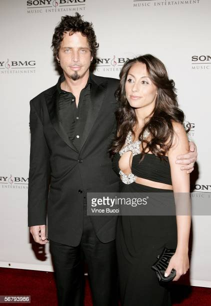 Audioslave lead singer Chris Cornell and guest arrive at the SONY BMG Grammy Party held at The Hollywood Roosevelt Hotel on February 8 2006 in...