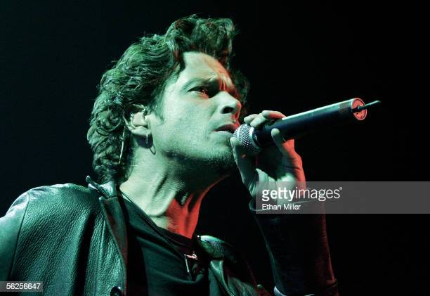 Audioslave singer Chris Cornell performs at Xtreme Rock Radio's annual 'Holiday Havoc' concert November 19 2005 in Las Vegas Nevada