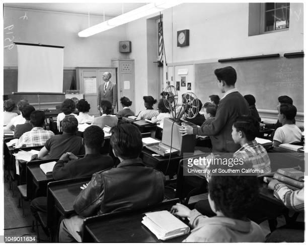 Audio-visual education, 21 March 1952. Ernestina Quintero;Marguerite Eichinger;George Smith;Hilma Hanson;Mrs Pearl Thomas;Grady Humphrey ;Robert...