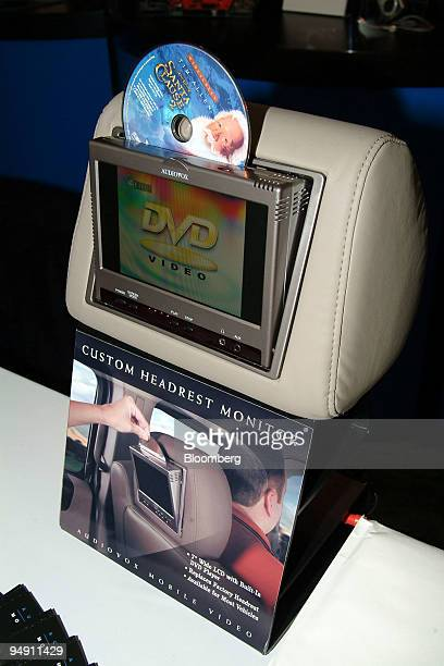 Audiovox's Mobile Video Custom Headrest System with built in DVD player sits on display at the press opening of Consumer Electronics Show 2004 in Las...