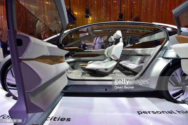 Audi's AIME Level 4 autonomous concept car is displayed at the Audi booth during CES 2020 at the Las Vegas Convention Center on January 7 2020 in Las...