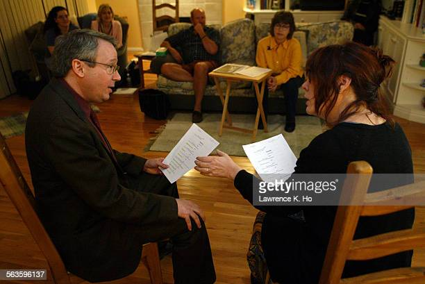 Audition call of the play Seventh Monarch by The Road Theater in producer Heather Moses' home Pic shows actor Carl Johnson reading opposite actress...