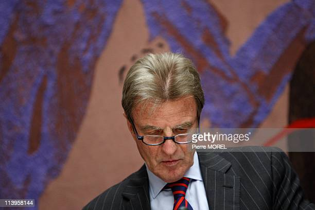 Audition of Bernard Kouchner In Paris France On April 16 2008French Foreign Minister Bernard Kouchner during his audition about property of the...