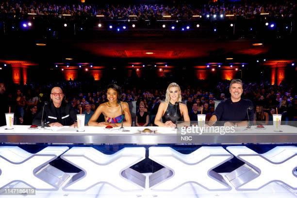 "Auditions 2"" Episode 1402 -- Pictured: Howie Mandel, Gabrielle Union, Julianne Hough, Simon Cowell --"