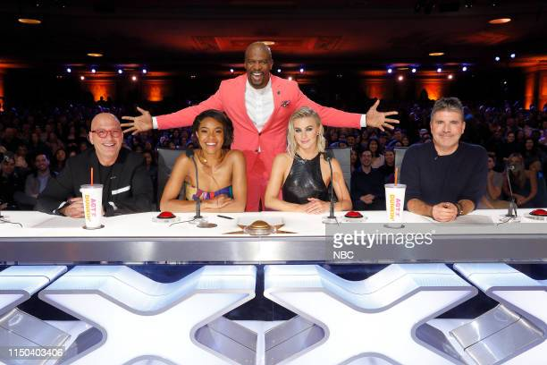 """Auditions 4"""" Episode 1404 -- Pictured: Howie Mandel, Gabrielle Union, Terry Crews, Julianne Hough, Simon Cowell --"""