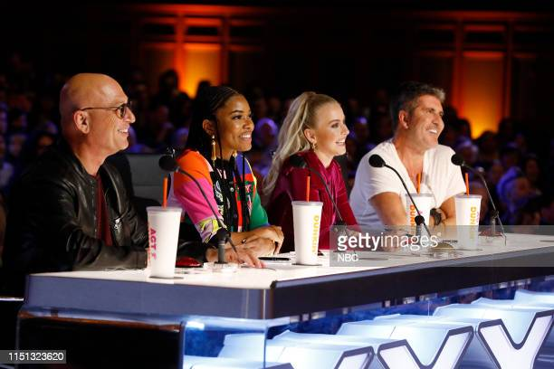 "Auditions 5"" Episode 1405 -- Pictured: Howie Mandel, Gabrielle Union, Julianne Hough, Simon Cowell --"