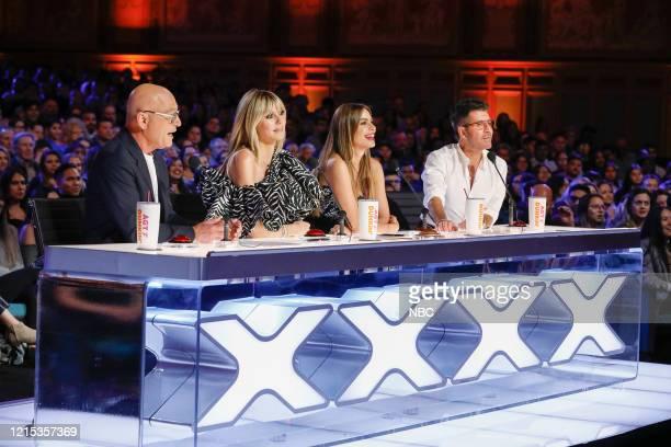 "Auditions"" Episode 1501 -- Pictured: Howie Mandel, Heidi Klum, Sofia Vergara, Simon Cowell --"