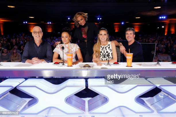 S GOT TALENT Auditions Pasadena Civic Auditorium Pictured Howie Mandel Mel B Tyra Banks Heidi Klum Simon Cowell