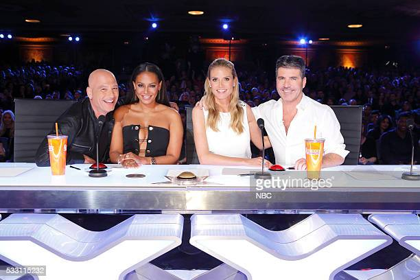 S GOT TALENT 'Auditions Pasadena Civic Auditorium' Pictured Howie Mandel Melanie 'Mel B' Brown Heidi Klum Simon Cowell