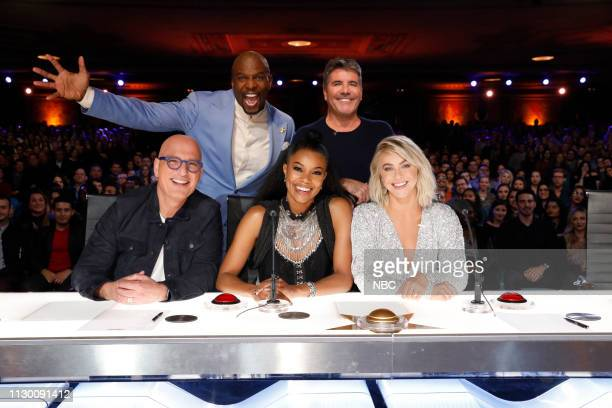 S GOT TALENT Auditions Pictured Howie Mandel Terry Crews Gabrielle Union Simon Cowell Julianne Hough