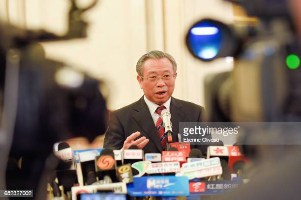 Auditor General of the National Audit Office of the People's Republic of China Liu Jiayi answers journalists during the Third Plenary Session of the...
