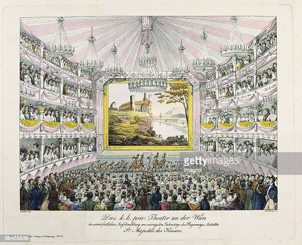 Auditorium of the 'Theater an der Wien' Colour Etching by Andreas Geiger Picture supplement of the Viennese general theater newspaper 1832...