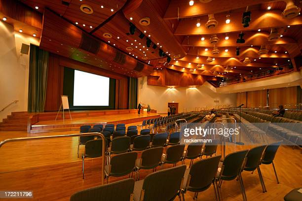 Auditorium with many chairs before the start of a conference