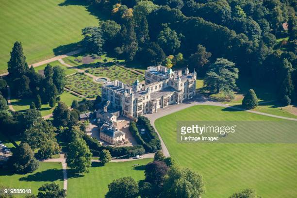 Audley End House and Gardens Saffron Walden Essex circa 2010s Aerial view of the grounds showing the house service wing parterre and parkland