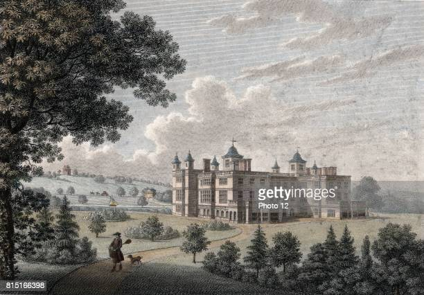 Audley End House Essex begun by Lord Thomas Howard 1603 Mansion as it appeared in 1781 Handcoloured engraving