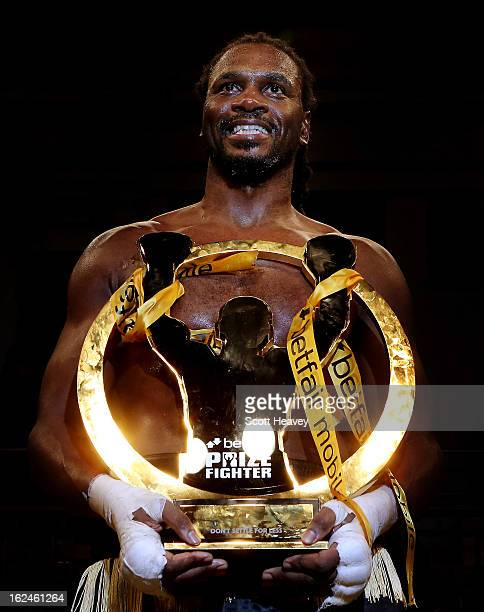 Audley Harrison celebrateswith the trophy after winning the International Heavywarights III betfair Prize Fighter at York Hall on February 23, 2013...