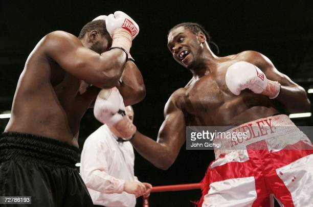 Audley Harrison connects with a body punch against Danny Williams during their Commonwealth Heavyweight title fight on December 9 2006 at the ExCel...