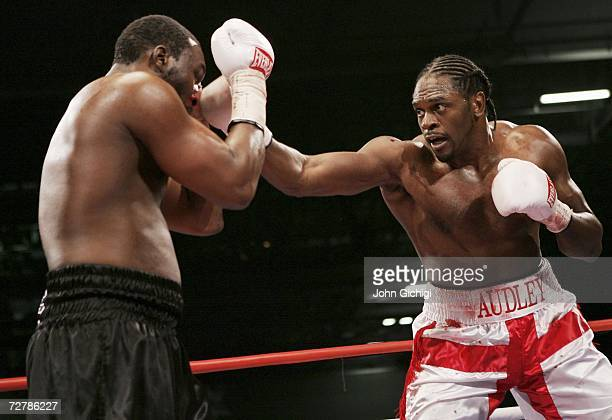 Audley Harrison connects with a right against Danny Williams during their Commonwealth Heavyweight title fight on December 9 2006 at the ExCel Centre...
