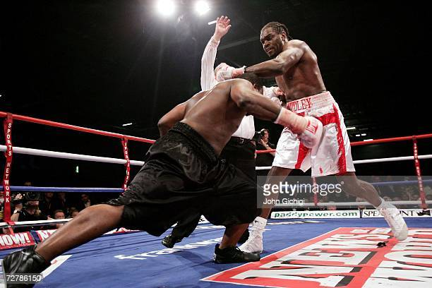 Audley Harrison floors Danny Williams during their Commonwealth Heavyweight fight on December 9 2006 at the ExCel Centre in London England