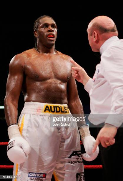 Audley Harrison of England is spoken to by the referee during the vacant Commonwealth Heavyweight Championship fight against Danny Williams at the...