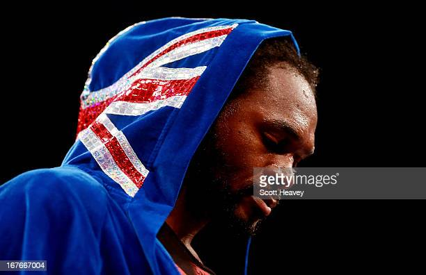 Audley Harrison prior to his Heavyweight bout with Deontay Wilder at Motorpoint Arena on April 27 2013 in Sheffield England