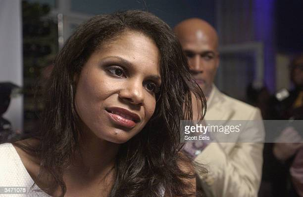 Audra MacDonald celebrates with Kenny Leon at the after party for opening night of 'Raisin in the Sun' on April 26 2004 in New York City