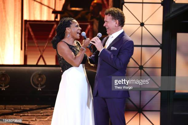 Audra McDonald and Brian Stokes Mitchell perform onstage during the 74th Annual Tony Awards at Winter Garden Theatre on September 26, 2021 in New...