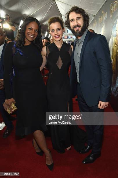 Audra McDonald Emma Watson and Josh Groban arrive at the New York special screening of Disney's liveaction adaptation 'Beauty and the Beast' at Alice...