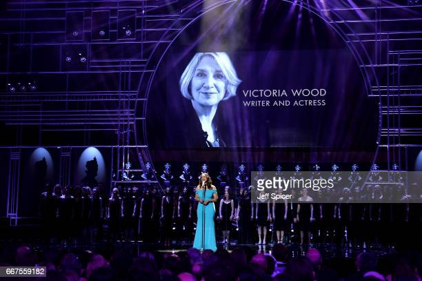 Audra McDonald performs on stage during The Olivier Awards 2017 at Royal Albert Hall on April 9 2017 in London England